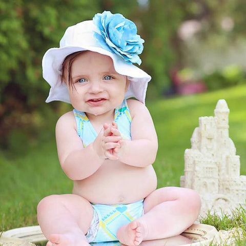 Sea Breeze Baby Girl White and Blue Sun Hat