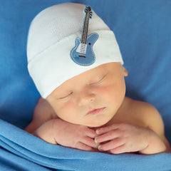 White Hat with Blue Guitar Newborn Boy Hospital Hat - Baby Rocker Hat icon