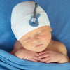 White Hat with Blue Guitar Newborn Boy Hospital Hat - Baby Rocker Hat