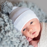 White Hospital Hat with Grey Pom Pom Newborn Boy Hospital Hat