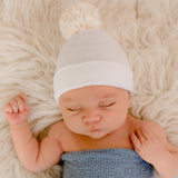 Ivory Pom Pom White Hospital Hat  Newborn Gender Neutral Hospital Hat