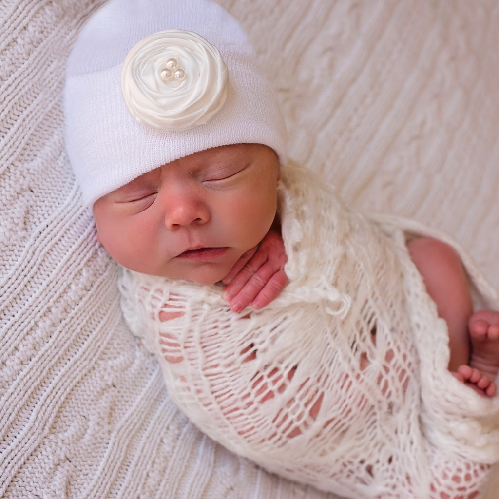 Pink (or Cream) Rolled Silk Flower with Pearl Newborn Girl Hospital Hat - White Hat