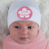 WHITE Little Sister Newborn Girl Hospital Hat