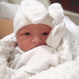 Pure White Big Bow with Gem Baby Girl Newborn Hospital Hat