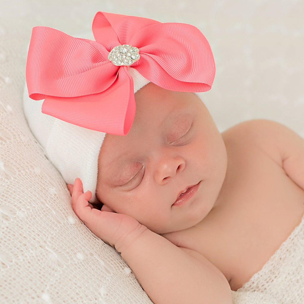 Pretty in Pink Big Ribbon Bow with Rhinestone White Newborn Hospital Hat - White Hat