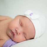 Tiny White Bow with Purple Ribbon Newborn Girl Hospital hat