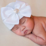 Snow White Big Ribbon Bow with Rhinestone Newborn Hospital Hat - White Hat