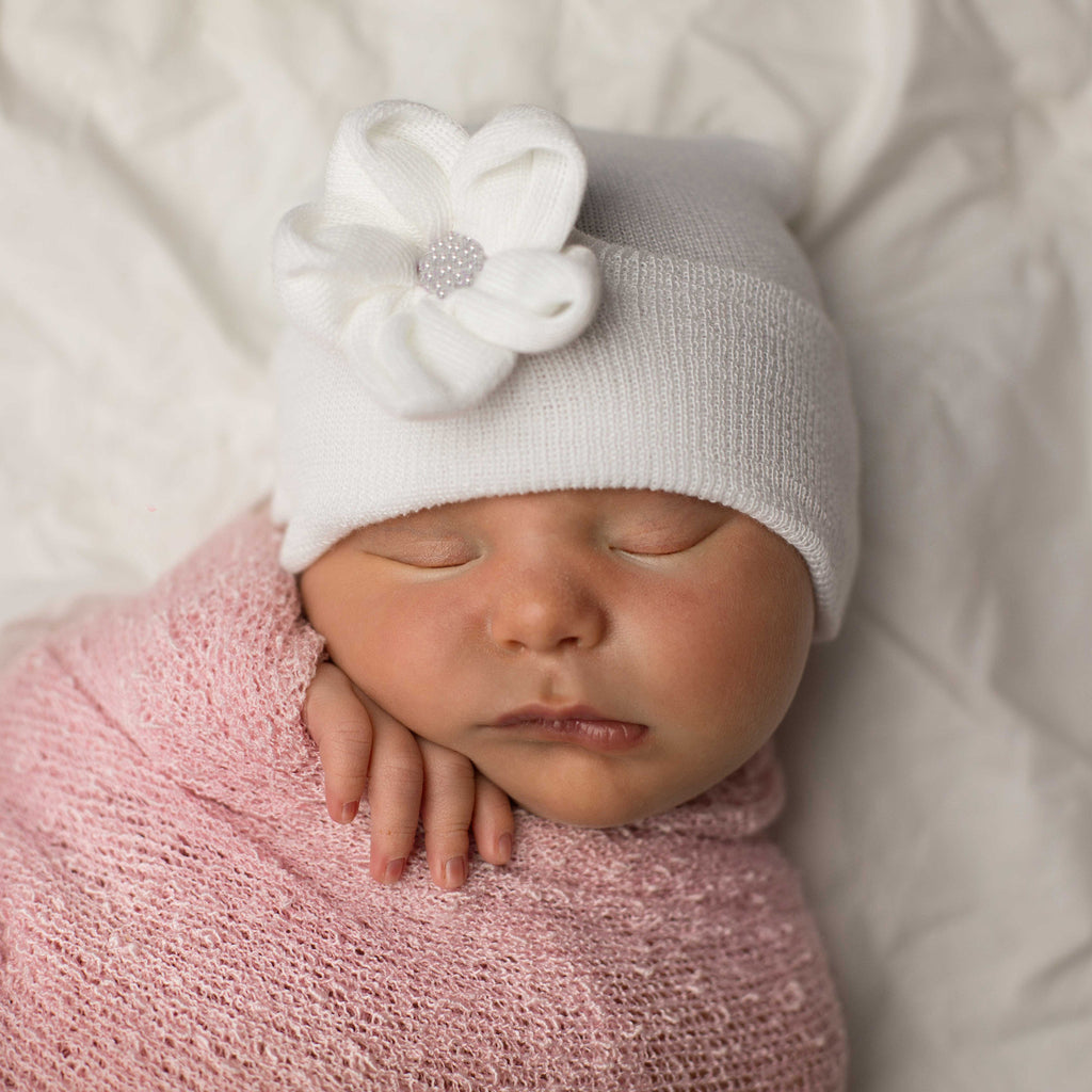 Lily Sparkles Button Newborn White Girl Hospital Hat