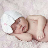 White Big Bow with Pink Ribbon Newborn Hospital Hat - White Hat with Pink Ribbon