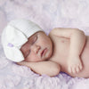 Purple Ribbon White Big Bow Newborn Girl Hospital Hat - White Hat with Purple Ribbon