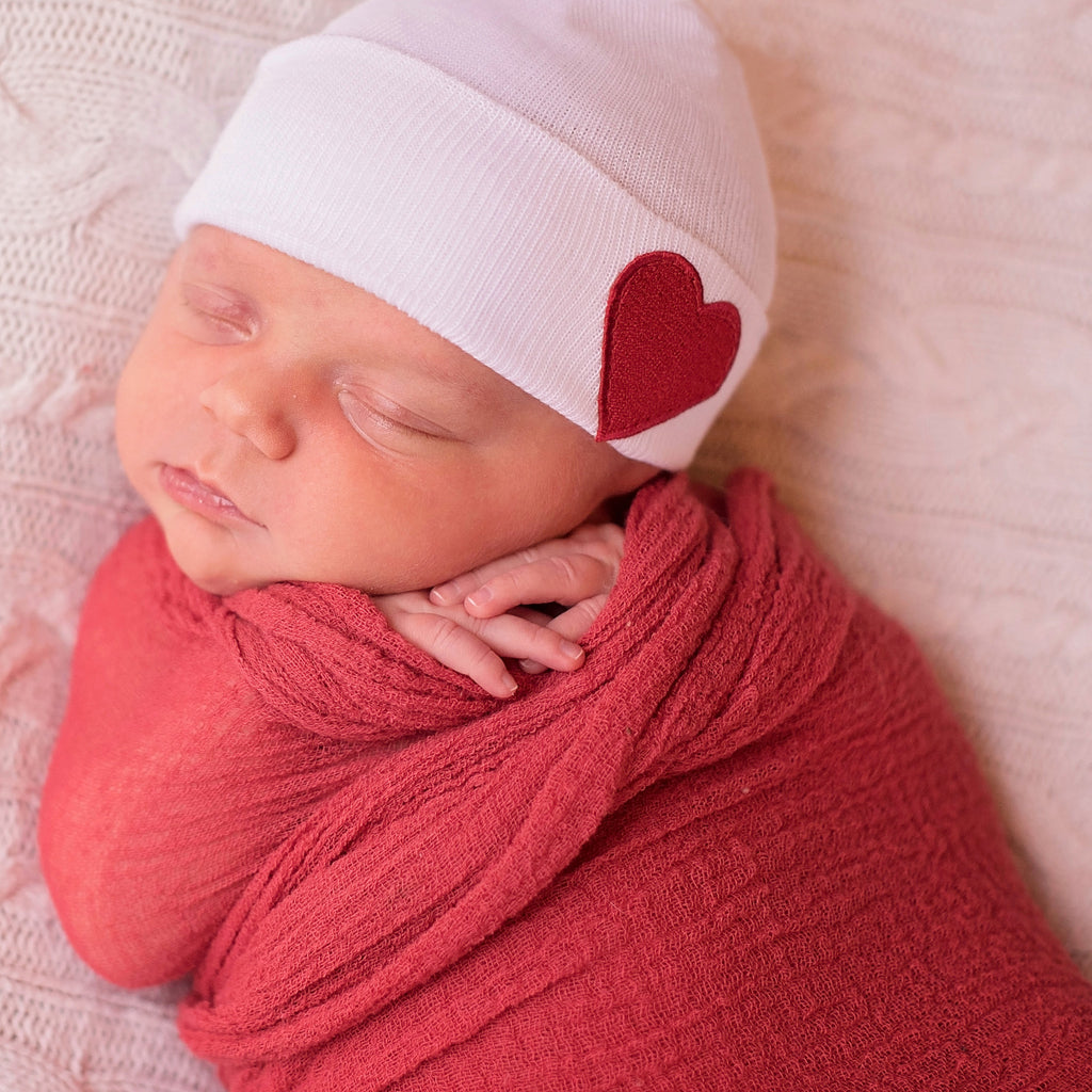 White Hat with Red Satin Heart Patch Newborn Gender Neutral Hospital Hat