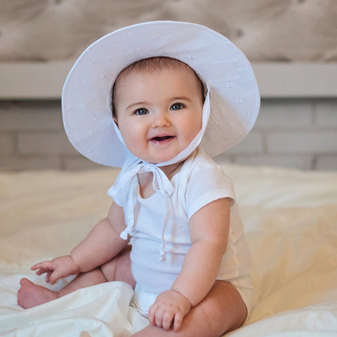 White Wide Brim Baby Sun Hat - UPF 50 Sun Protection