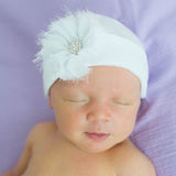 White Hat with White Frayed Flower Newborn Girl Hospital Hat - White