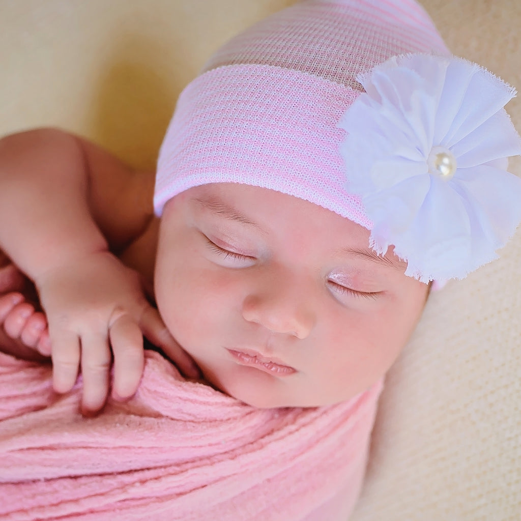 Pink & White Striped Newborn Girl Hospital Hat with Shabby Chic Flower with Pearl at Center
