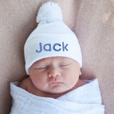 Pure White Pom Pom Gender Neutral Newborn Hospital Hat (Personalization Optional)
