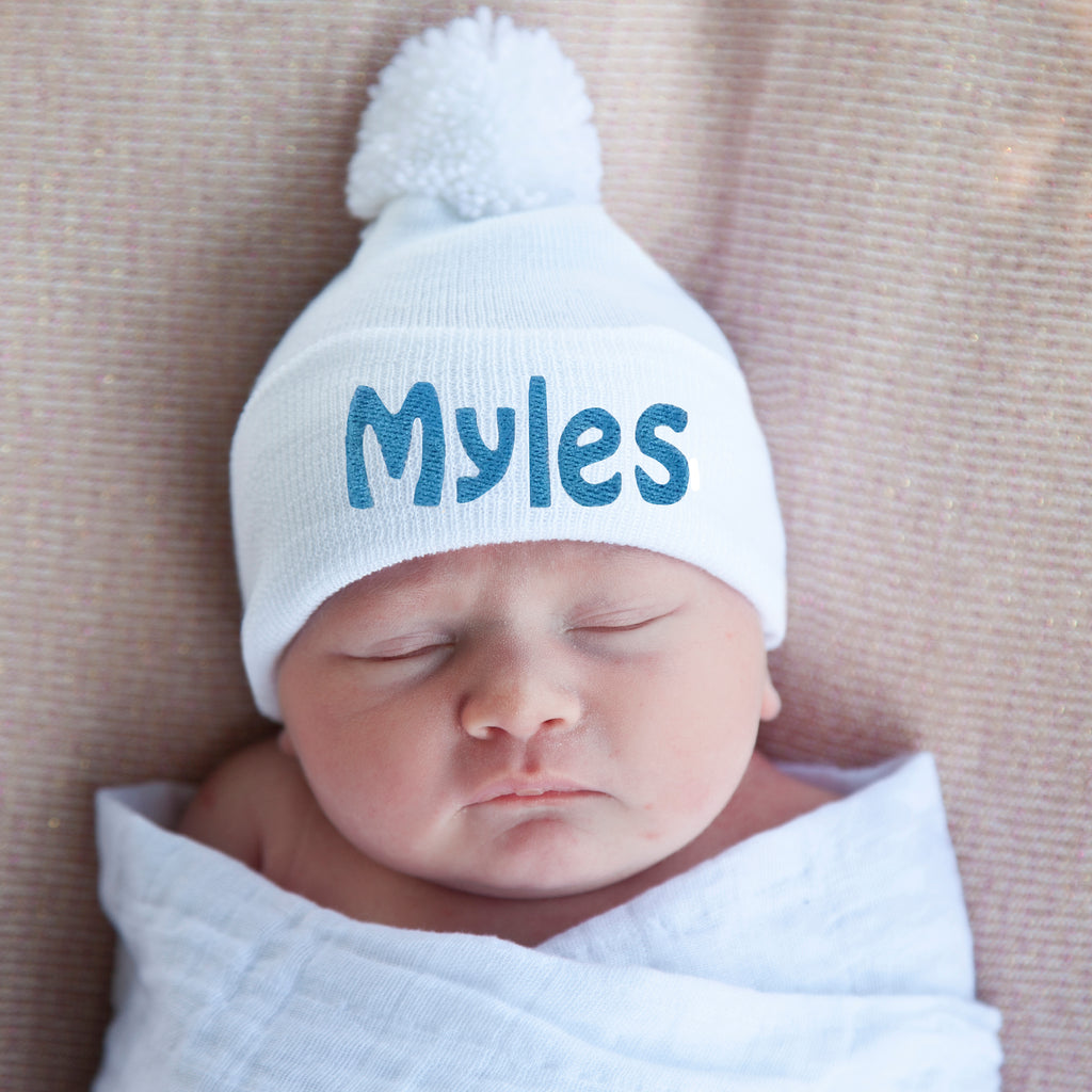 PERSONALIZED White Hat with White Pom Pom Newborn Boy Hospital Hat