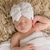 White Rosette Bow Newborn Girl Hospital & White Nursery Hat