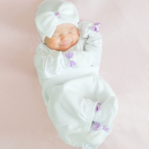 Pure White and Lilac Newborn Girl Hat, Mittens and Booties Nursery SET