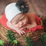 White Hat with Black Frayed Flower Newborn Girl Hospital Hat - White Hat