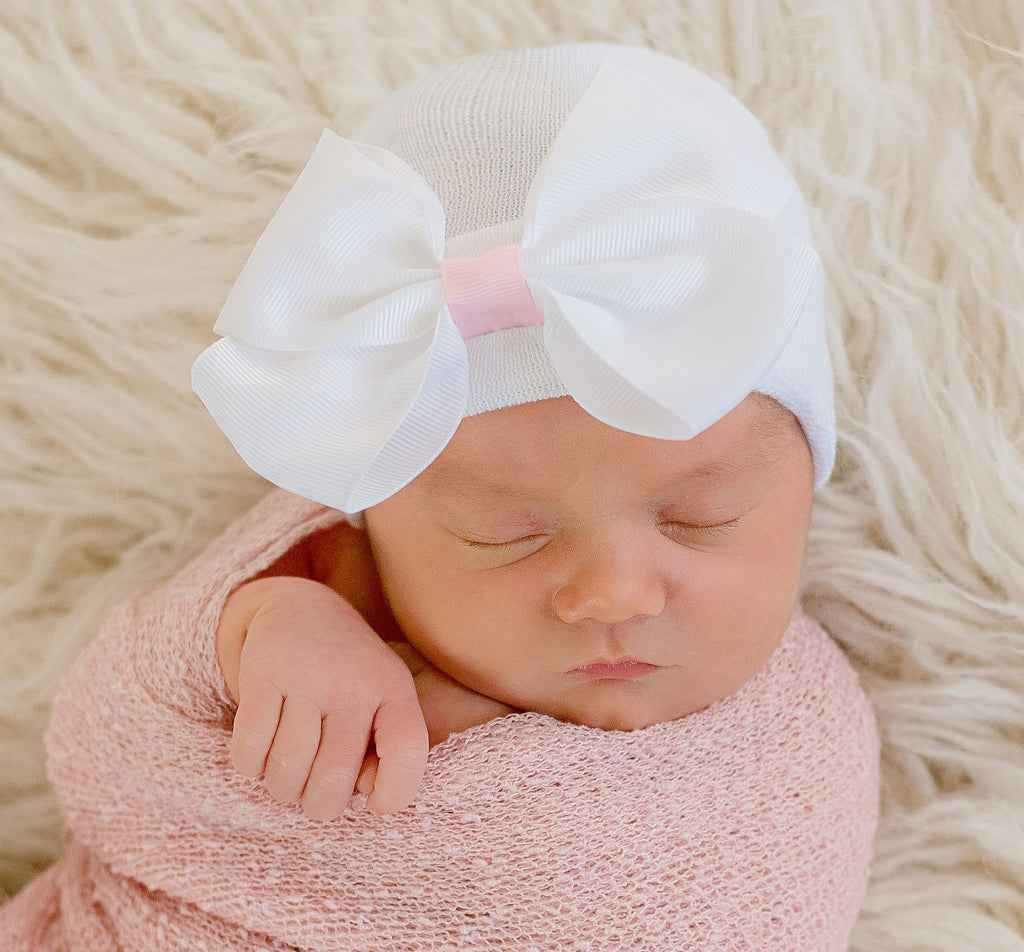 Sophie White Big Ribbon Bow with Pink Ribbon Center Newborn Hospital Hat - White Hat