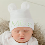 Personalized White Gender Neutral Fuzzy Bear Ear Newborn Boy or Girl Hospital Hat for Newborns