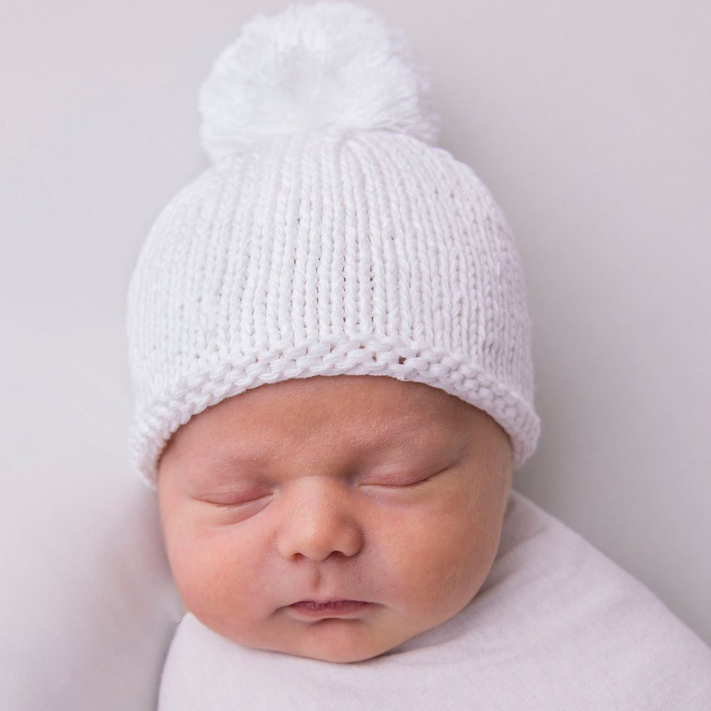 Solid White Knit Newborn Hat with White Pom Pom Newborn Gender Neutral Beanie