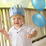 Personalized Felt Crown Baby and Toddler Boys - Baby Blue