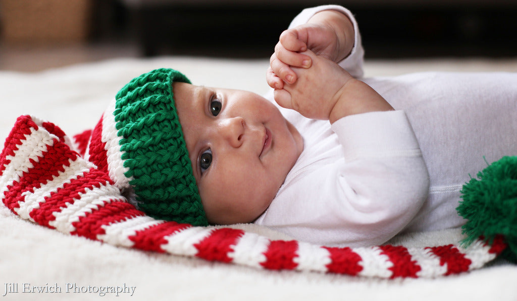 Christmas Baby Elf Crochet Stocking Hat