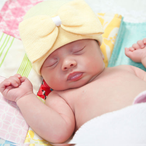 Lucky Yellow Big Bow with White Ribbon Hospital Hat for Newborn Girls