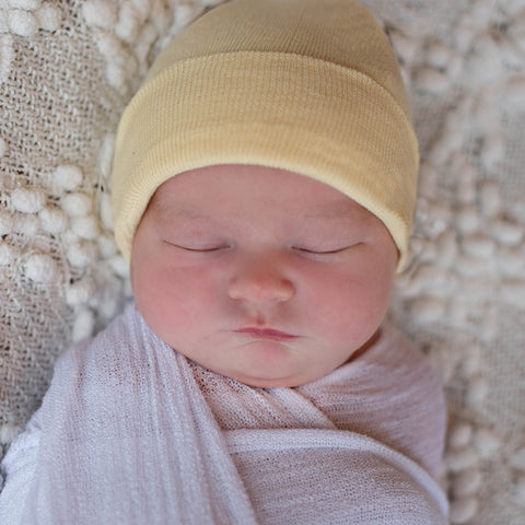 Solid Yellow Gender Neutral Newborn Hospital Hat