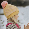 Sunshine Gold Yellow with Pink Pom Pom Fully Polar Fleece Lined Girl's Winter Hat