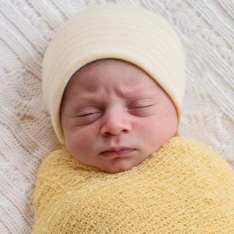 Yellow Striped Newborn Boy Hospital Hat