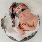 Rustic Stocking Personalized Burlap Patch Newborn Hat