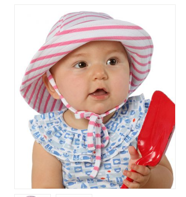 Wide Striped Knit Pink and White Baby and Toddler Girl Sun Hat