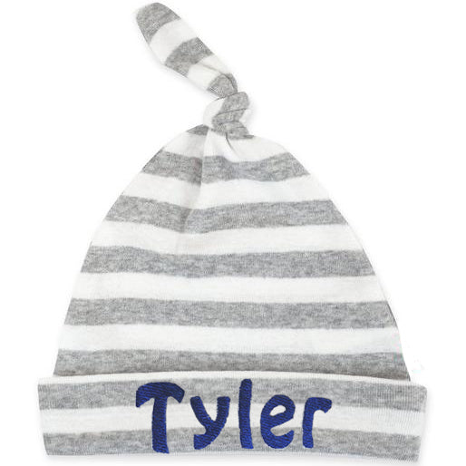 100% Organic Grey and White Striped Knot Beanie Personalized