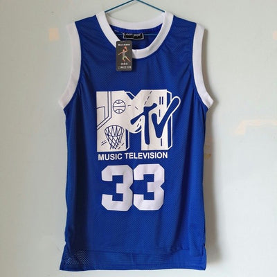 Music Television First Annual Rock N'Jock B-Ball Jam 1991 Men Blue Color Jersey On Sale