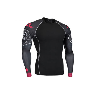Tiger Men Compression  MMA Training Rashguard T-Shirt