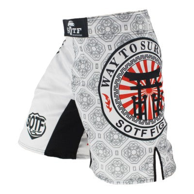 White Japanese Style Print Ferocious Roar Battle Trunks