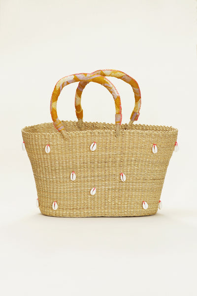 Cowrie Bolga Tote - Orange Handle