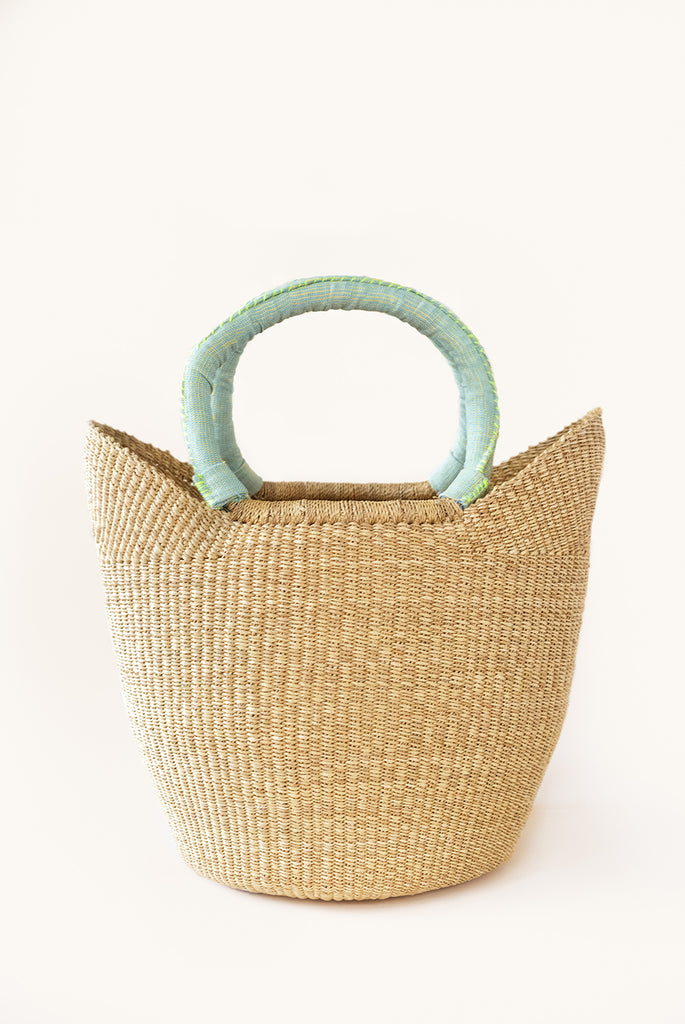 Bolga Tote - Green Handle