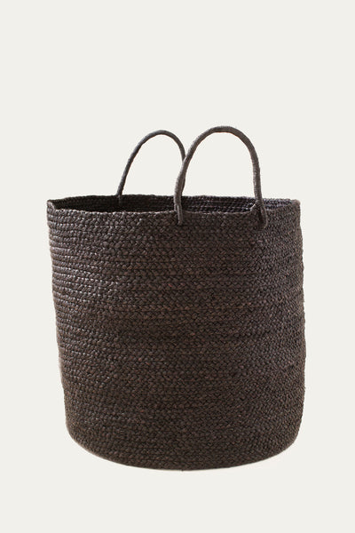 Large Braided Raffia Basket - Black