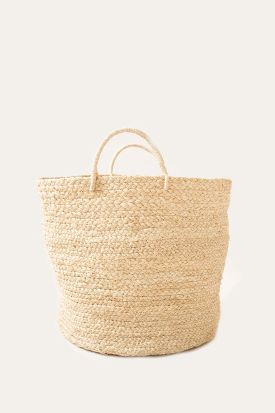 Medium Braided Raffia Basket Natural