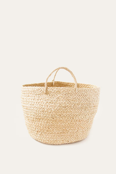 Small Braided Raffia Basket Natural
