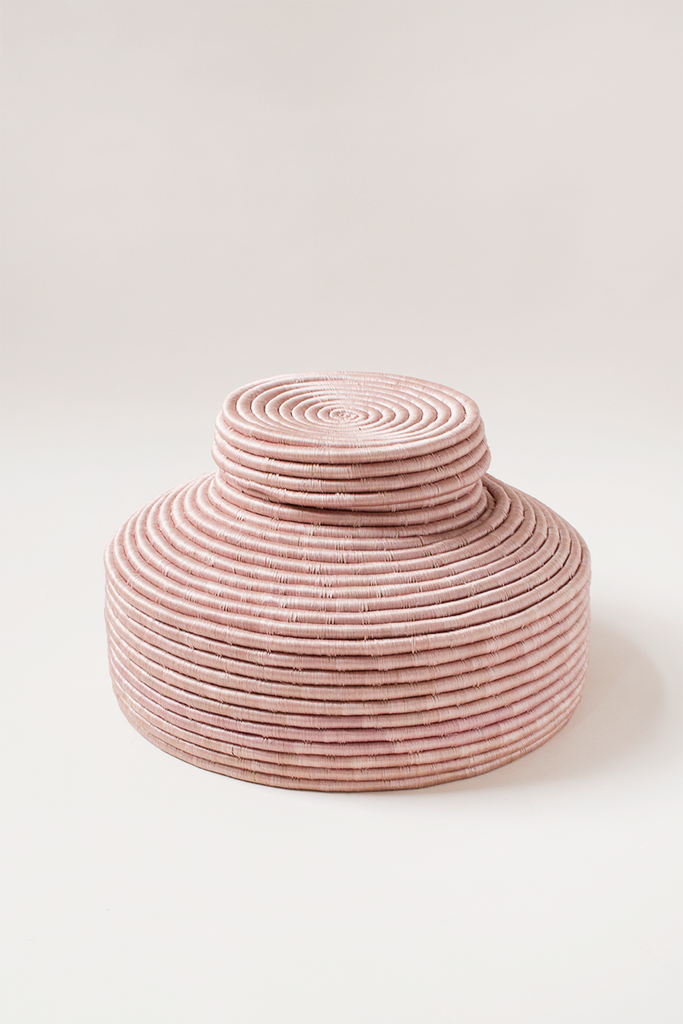 Mauve Lidded Floor Basket