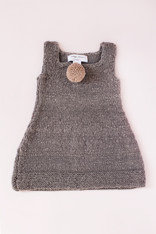 Knit Pom Dress - Grey
