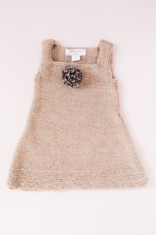Knit Pom Dress - Peach