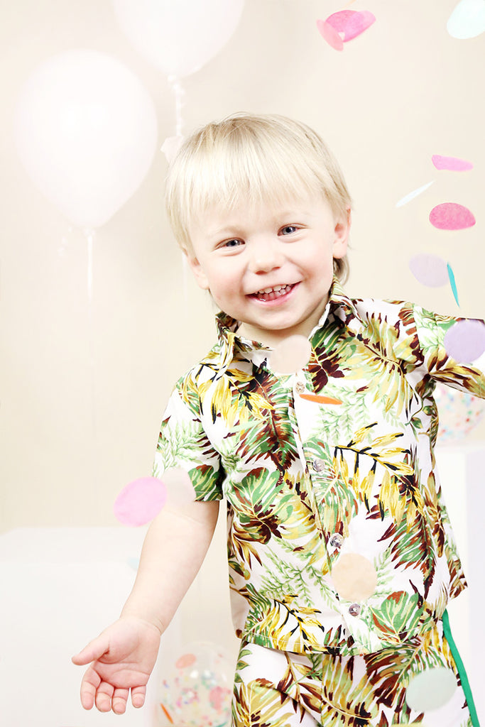 Boys Button Up - Palm Print