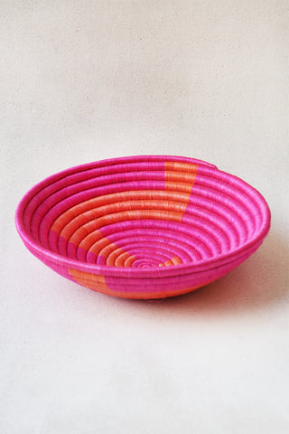 Pink & Orange Zig Zag Plateau Basket