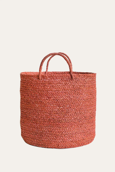 Medium Braided Raffia Basket Terracotta