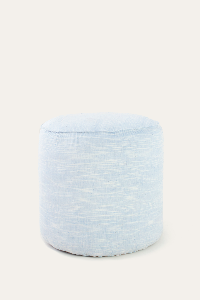 Light Blue Ikat Ottoman